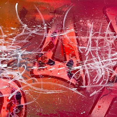 BEHIND THE CRY, acrylique, aérosol et marker sur toile, 100 x 210 cm, 2014