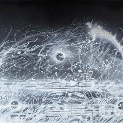 GETTO BLASTER, acrylique, aérosol et marker sur film synthétique 136 x 100 cm,2015