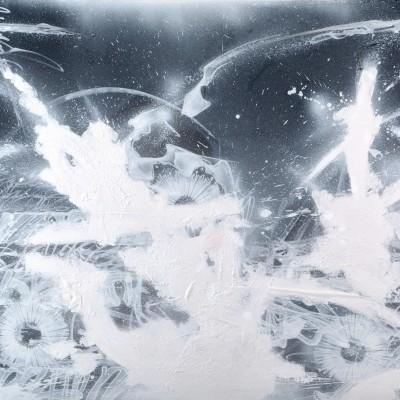 GHOST CEREMONY,  acrylique, aérosol et marker sur film synthétique 136 x 100 cm, 2014