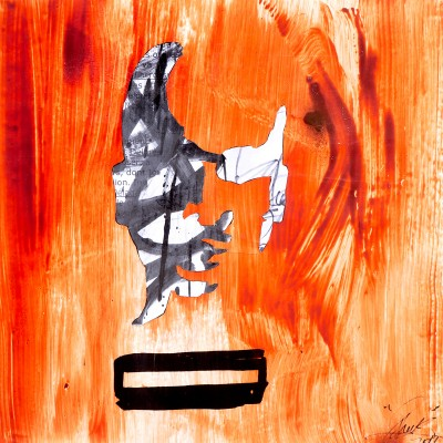 Invisibilité Caractérisée De L'Homme Noir. Collage, aérosol et Maker sur papier 70 cm x 70 cm, 2015
