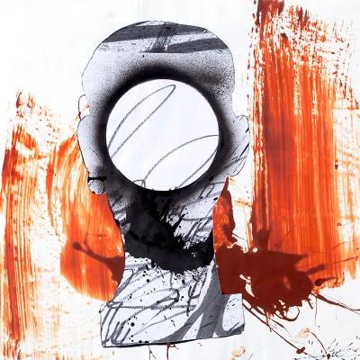 Invisibilité Caractérisée De L'Homme Noir. Collage, aérosol et Maker sur papier 50 cm x 50 cm, 2015