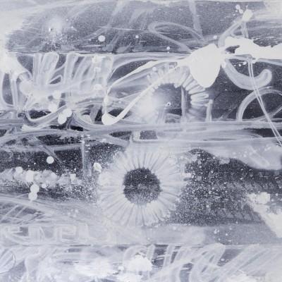 NIGHT WAY 1, acrylique, aérosol et marker sur film synthétique 97 x 46 cm, 2014