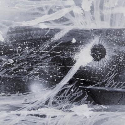 NIGHT WAY 2, acrylique, aérosol et marker sur film synthétique 97 x 46 cm, 2014