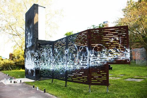 Urban Ecology, aérosol sur métal et mur3 m x 20 m, 2019