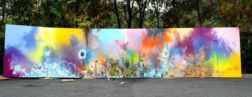 EMPOWER GRAFFITI, aérosol sur toile, 6 x 250 x 250 cm, 2018