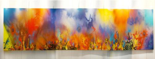 RISING CHINA, aérosol sur toile, 6 x 250 x 250 cm, 2018