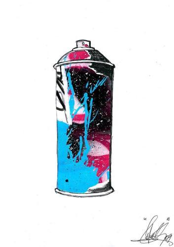 Spray Can 7Collage et aérosol sur carton 30 cm X 40 cm