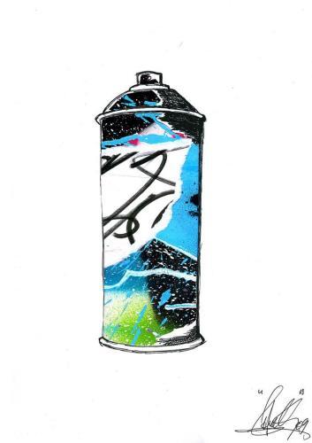 Spray Can 5Collage et aérosol sur carton 30 cm X 40 cm