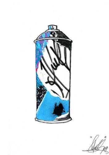 Spray Can 4Collage et aérosol sur carton 30 cm X 40 cm