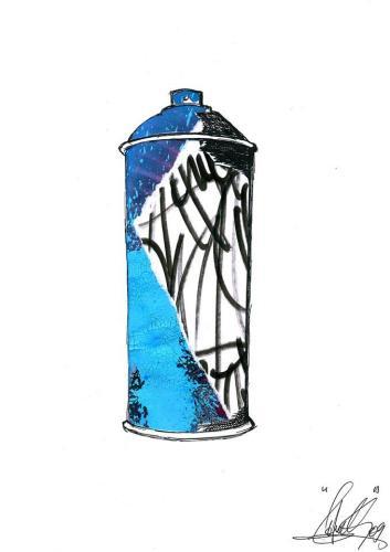 Spray Can 1Collage et aérosol sur carton 30 cm X 40 cm