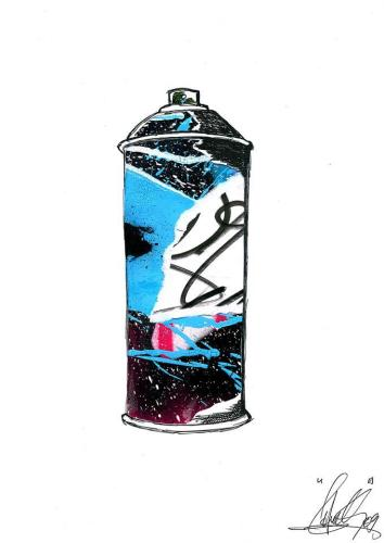 Spray Can 2Collage et aérosol sur carton 30 cm X 40 cm
