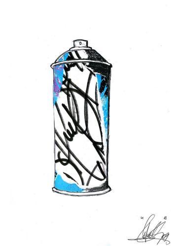 Spray Can 3Collage et aérosol sur carton 30 cm X 40 cm